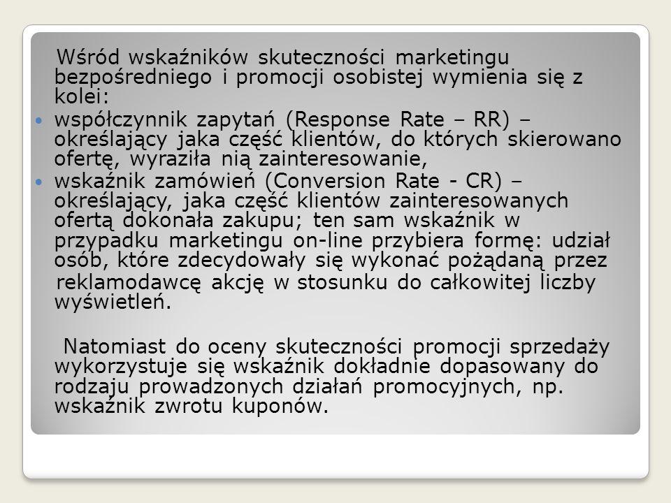 Wśród wskaźników skuteczności marketingu bezpośredniego i promocji osobistej wymienia się z kolei: współczynnik zapytań (Response Rate – RR) – określa