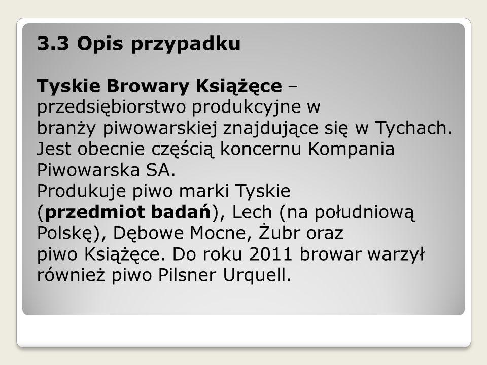 3.3 Opis przypadku Tyskie Browary Książęce – przedsiębiorstwo produkcyjne w branży piwowarskiej znajdujące się w Tychach. Jest obecnie częścią koncern