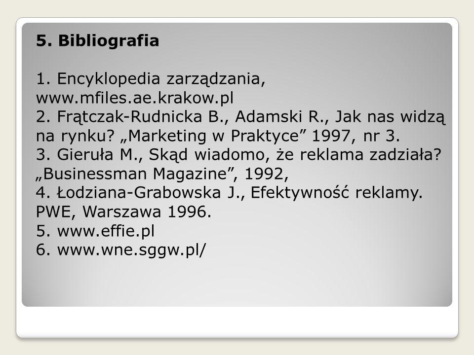 """5. Bibliografia 1. Encyklopedia zarządzania, www.mfiles.ae.krakow.pl 2. Frątczak-Rudnicka B., Adamski R., Jak nas widzą na rynku? """"Marketing w Praktyc"""