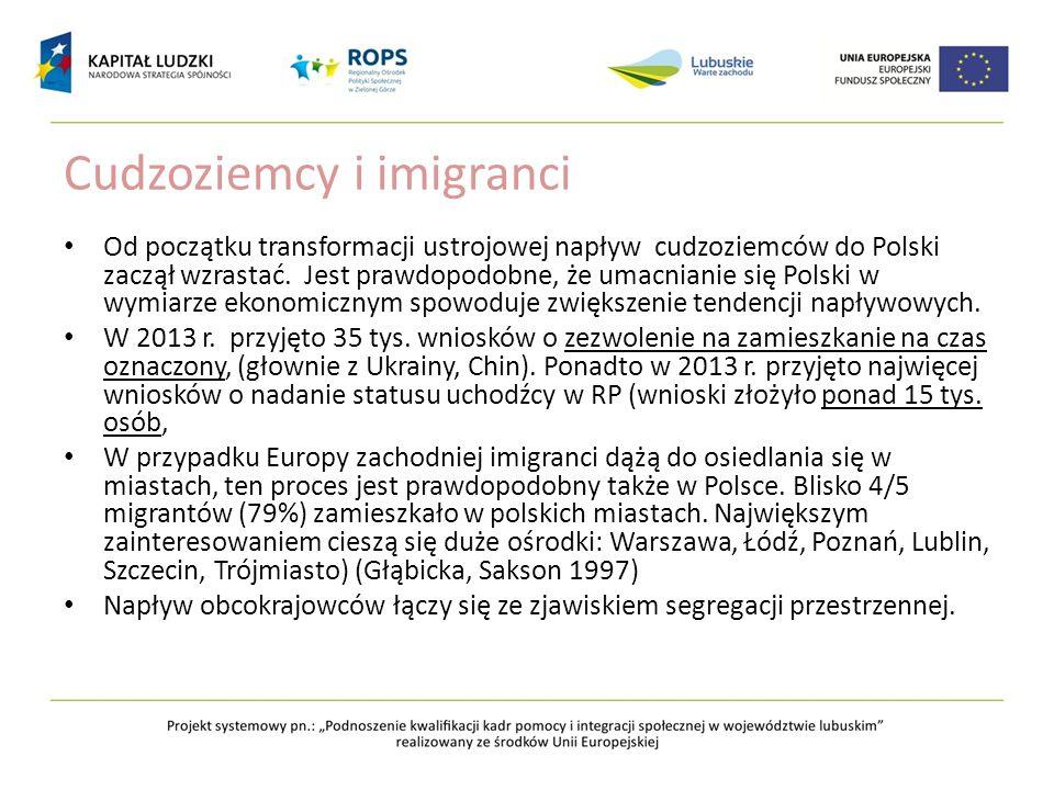 Cudzoziemcy i imigranci Od początku transformacji ustrojowej napływ cudzoziemców do Polski zaczął wzrastać. Jest prawdopodobne, że umacnianie się Pols
