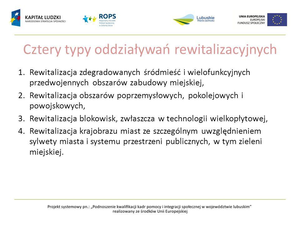 Cztery typy oddziaływań rewitalizacyjnych 1.Rewitalizacja zdegradowanych śródmieść i wielofunkcyjnych przedwojennych obszarów zabudowy miejskiej, 2.Re
