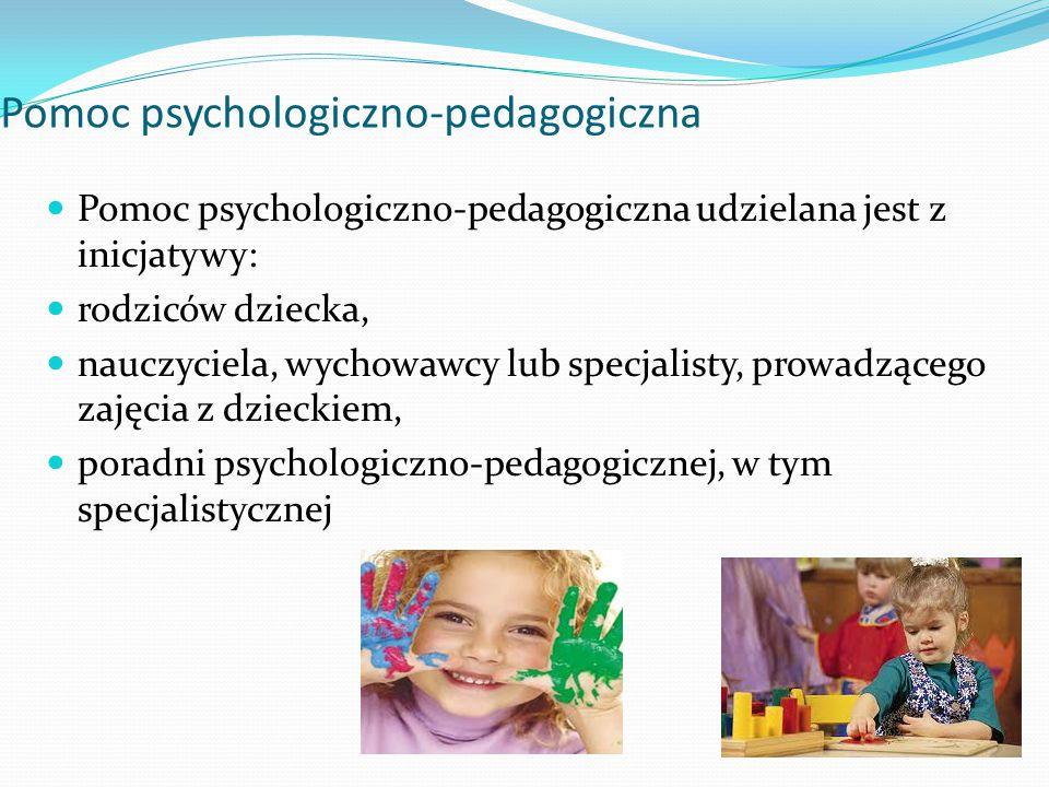 Pomoc psychologiczno-pedagogiczna Pomoc psychologiczno-pedagogiczna udzielana jest z inicjatywy: rodziców dziecka, nauczyciela, wychowawcy lub specjalisty, prowadzącego zajęcia z dzieckiem, poradni psychologiczno-pedagogicznej, w tym specjalistycznej