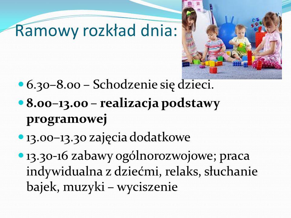 Ramowy rozkład dnia: 6.30–8.00 – Schodzenie się dzieci.
