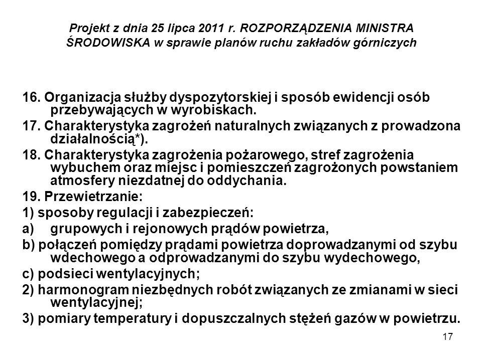 17 Projekt z dnia 25 lipca 2011 r. ROZPORZĄDZENIA MINISTRA ŚRODOWISKA w sprawie planów ruchu zakładów górniczych 16. Organizacja służby dyspozytorskie