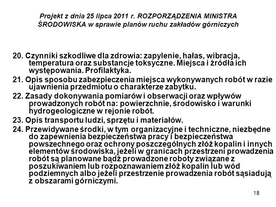 18 Projekt z dnia 25 lipca 2011 r. ROZPORZĄDZENIA MINISTRA ŚRODOWISKA w sprawie planów ruchu zakładów górniczych 20. Czynniki szkodliwe dla zdrowia: z