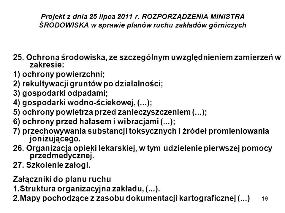 19 Projekt z dnia 25 lipca 2011 r. ROZPORZĄDZENIA MINISTRA ŚRODOWISKA w sprawie planów ruchu zakładów górniczych 25. Ochrona środowiska, ze szczególny