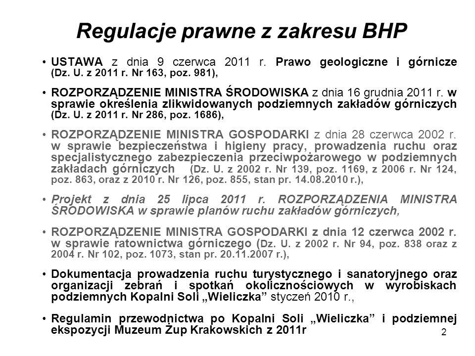 2 Regulacje prawne z zakresu BHP USTAWA z dnia 9 czerwca 2011 r. Prawo geologiczne i górnicze (Dz. U. z 2011 r. Nr 163, poz. 981), ROZPORZĄDZENIE MINI