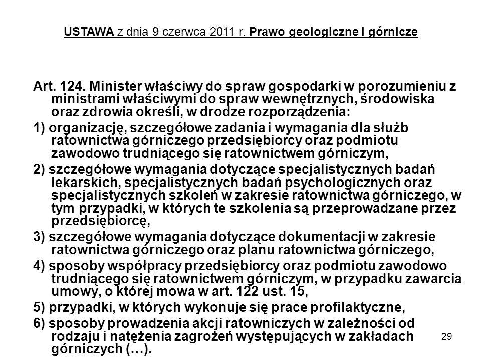 29 Art. 124. Minister właściwy do spraw gospodarki w porozumieniu z ministrami właściwymi do spraw wewnętrznych, środowiska oraz zdrowia określi, w dr