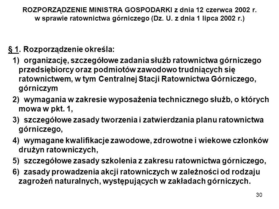 30 ROZPORZĄDZENIE MINISTRA GOSPODARKI z dnia 12 czerwca 2002 r. w sprawie ratownictwa górniczego (Dz. U. z dnia 1 lipca 2002 r.) § 1. Rozporządzenie o