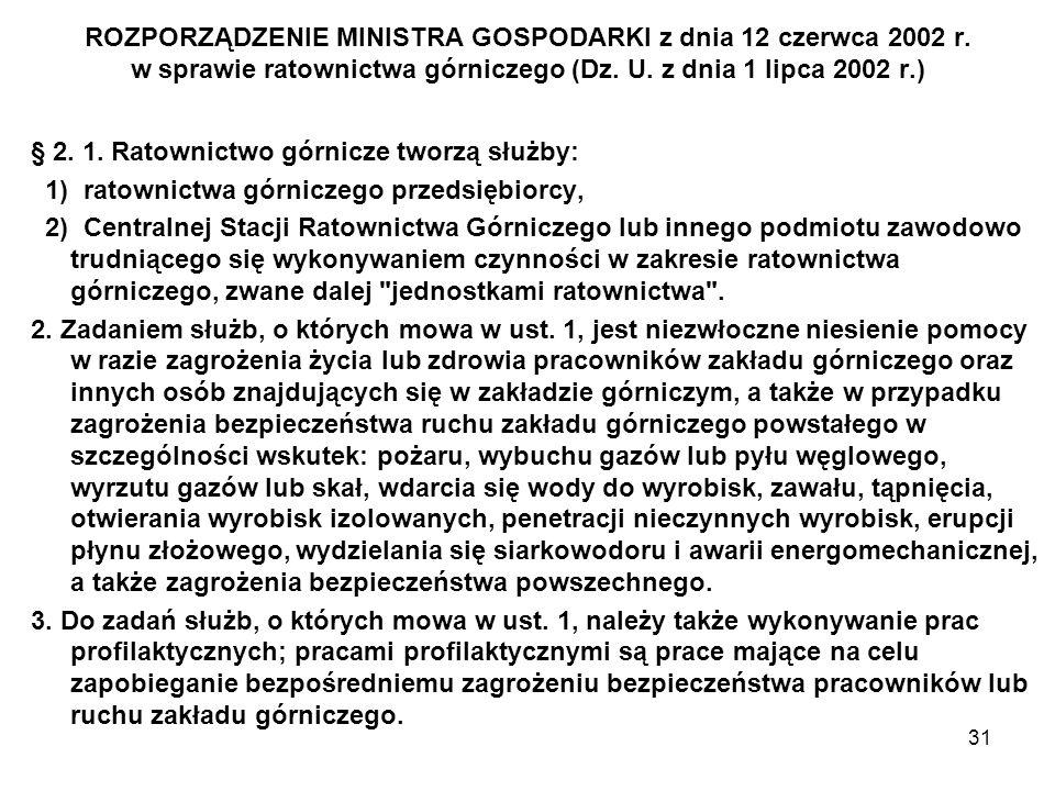 31 ROZPORZĄDZENIE MINISTRA GOSPODARKI z dnia 12 czerwca 2002 r. w sprawie ratownictwa górniczego (Dz. U. z dnia 1 lipca 2002 r.) § 2. 1. Ratownictwo g