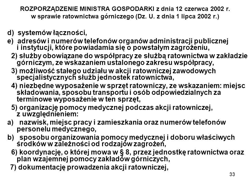 33 ROZPORZĄDZENIE MINISTRA GOSPODARKI z dnia 12 czerwca 2002 r. w sprawie ratownictwa górniczego (Dz. U. z dnia 1 lipca 2002 r.) d) systemów łączności