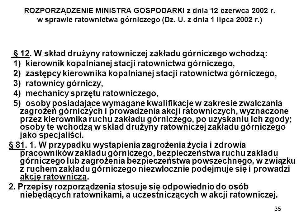 35 ROZPORZĄDZENIE MINISTRA GOSPODARKI z dnia 12 czerwca 2002 r. w sprawie ratownictwa górniczego (Dz. U. z dnia 1 lipca 2002 r.) § 12. W skład drużyny