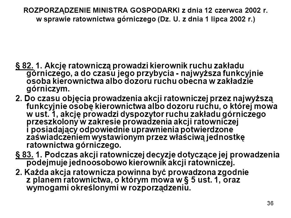 36 ROZPORZĄDZENIE MINISTRA GOSPODARKI z dnia 12 czerwca 2002 r. w sprawie ratownictwa górniczego (Dz. U. z dnia 1 lipca 2002 r.) § 82. 1. Akcję ratown