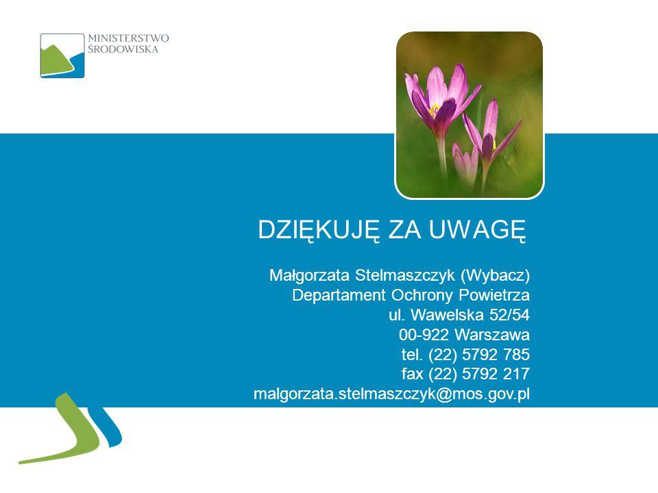 DZIĘKUJĘ ZA UWAGĘ Małgorzata Stelmaszczyk (Wybacz) Departament Ochrony Powietrza ul. Wawelska 52/54 00-922 Warszawa tel. (22) 5792 785 fax (22) 5792 2