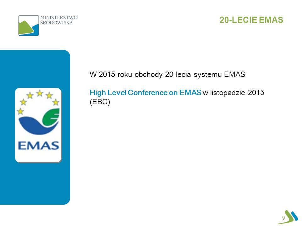 9 20-LECIE EMAS W 2015 roku obchody 20-lecia systemu EMAS High Level Conference on EMAS w listopadzie 2015 (EBC)