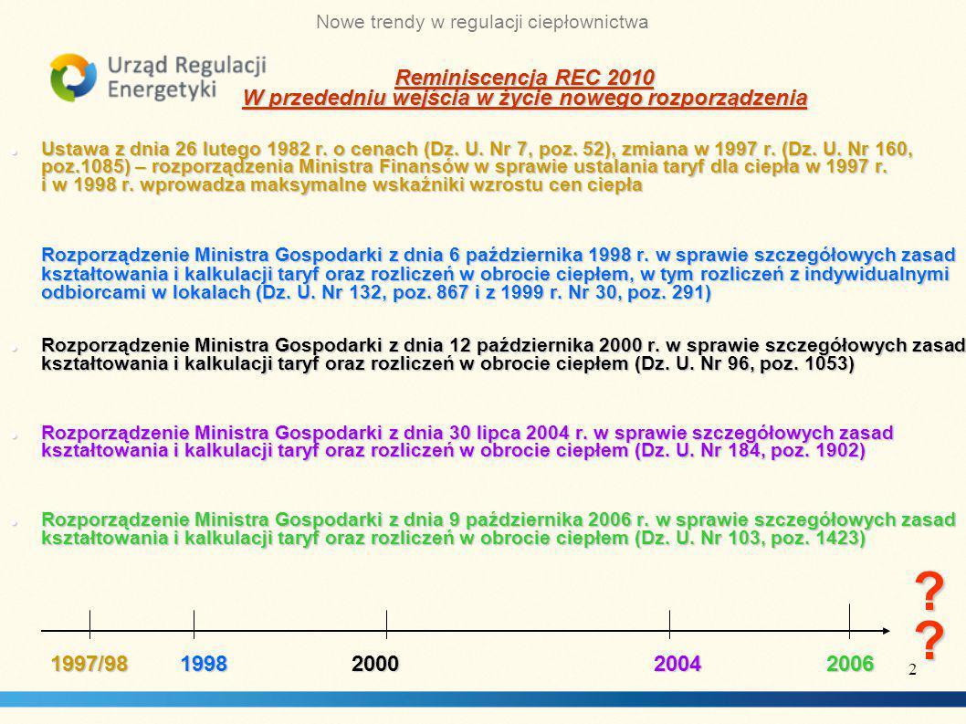Nowe trendy w regulacji ciepłownictwa Ustawa z dnia 26 lutego 1982 r.