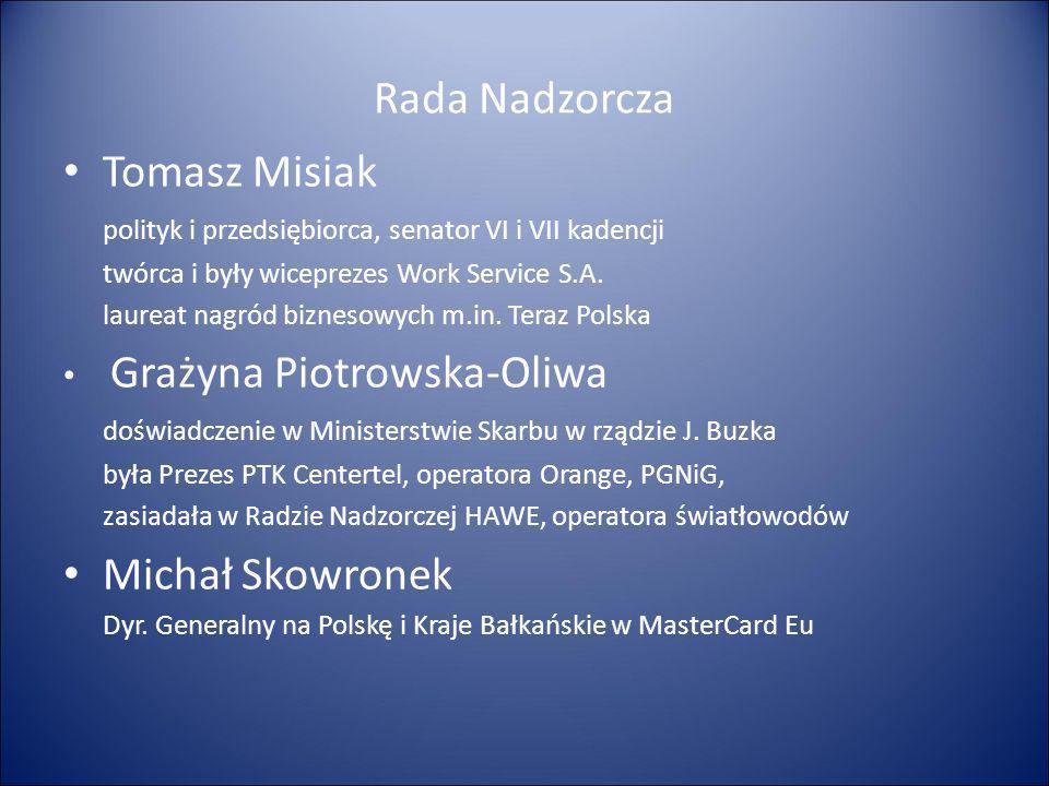 Rada Nadzorcza Tomasz Misiak polityk i przedsiębiorca, senator VI i VII kadencji twórca i były wiceprezes Work Service S.A. laureat nagród biznesowych