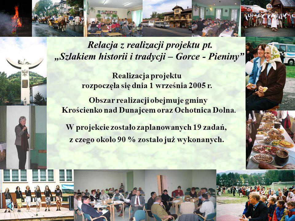"""Relacja z realizacji projektu pt. """"Szlakiem historii i tradycji – Gorce - Pieniny"""" Realizacja projektu rozpoczęła się dnia 1 września 2005 r. Obszar r"""
