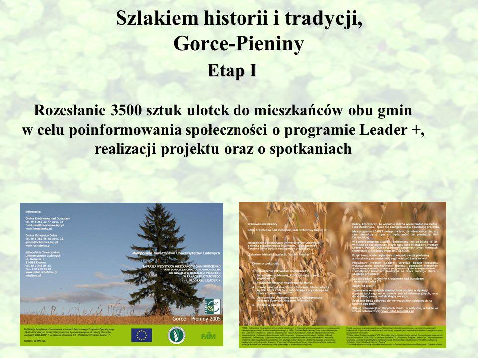 Szlakiem historii i tradycji, Gorce-Pieniny Etap I Rozesłanie 3500 sztuk ulotek do mieszkańców obu gmin w celu poinformowania społeczności o programie