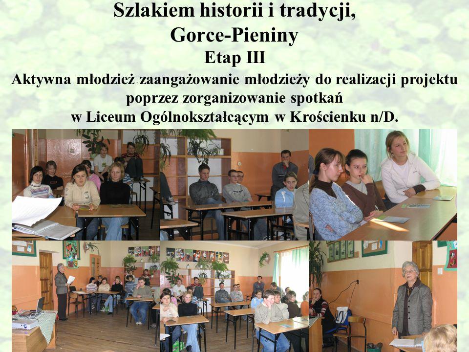 Szlakiem historii i tradycji, Gorce-Pieniny Aktywna młodzież - zaangażowanie młodzieży do realizacji projektu poprzez zorganizowanie spotkań w Liceum