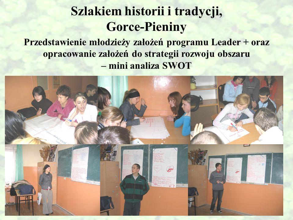 Szlakiem historii i tradycji, Gorce-Pieniny Przedstawienie młodzieży założeń programu Leader + oraz opracowanie założeń do strategii rozwoju obszaru –