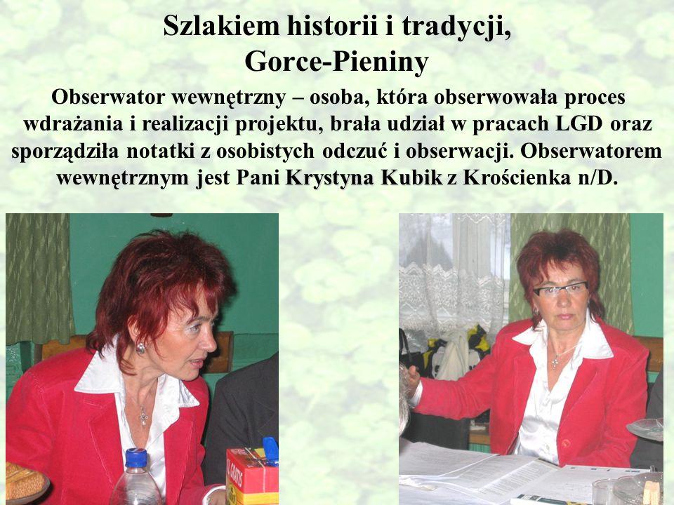 Szlakiem historii i tradycji, Gorce-Pieniny Krystyna Kubik Obserwator wewnętrzny – osoba, która obserwowała proces wdrażania i realizacji projektu, br