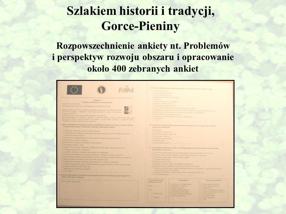 Szlakiem historii i tradycji, Gorce-Pieniny Rozpowszechnienie ankiety nt. Problemów i perspektyw rozwoju obszaru i opracowanie około 400 zebranych ank