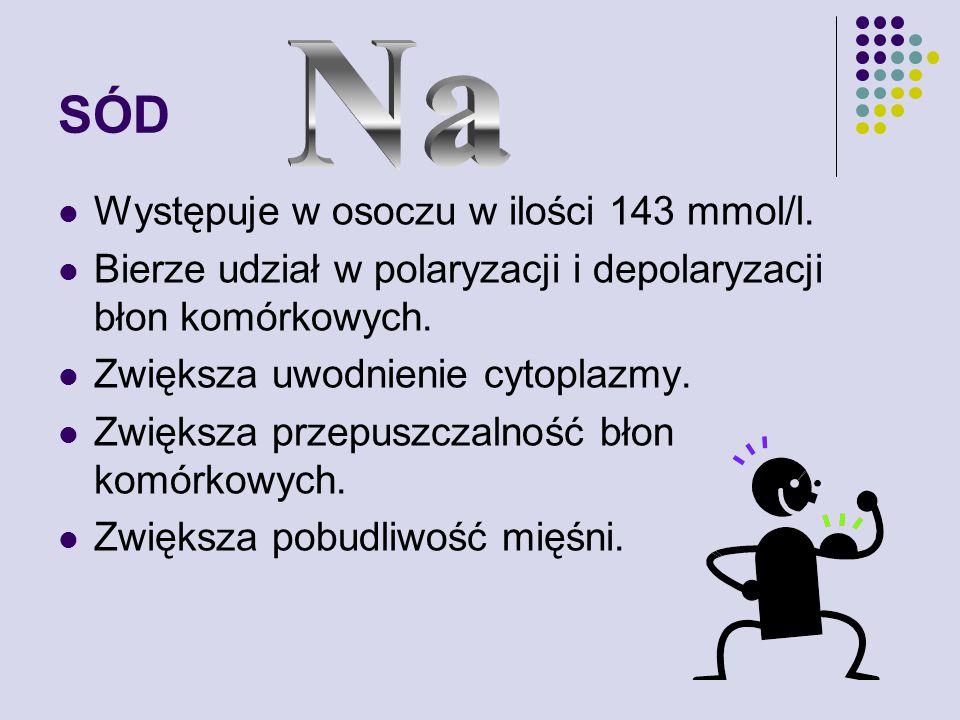 SÓD Występuje w osoczu w ilości 143 mmol/l.