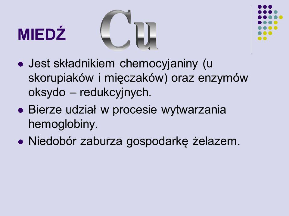 MIEDŹ Jest składnikiem chemocyjaniny (u skorupiaków i mięczaków) oraz enzymów oksydo – redukcyjnych.