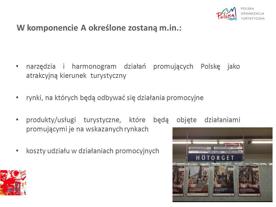 W komponencie A określone zostaną m.in.: narzędzia i harmonogram działań promujących Polskę jako atrakcyjną kierunek turystyczny rynki, na których będ