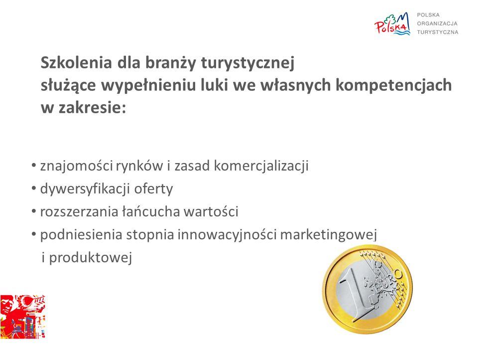 Szkolenia dla branży turystycznej służące wypełnieniu luki we własnych kompetencjach w zakresie: znajomości rynków i zasad komercjalizacji dywersyfika