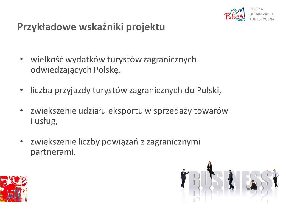 Przykładowe wskaźniki projektu wielkość wydatków turystów zagranicznych odwiedzających Polskę, liczba przyjazdy turystów zagranicznych do Polski, zwię