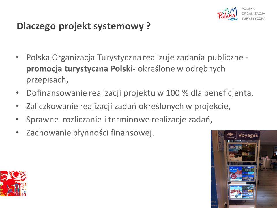 Dlaczego projekt systemowy ? Polska Organizacja Turystyczna realizuje zadania publiczne - promocja turystyczna Polski- określone w odrębnych przepisac