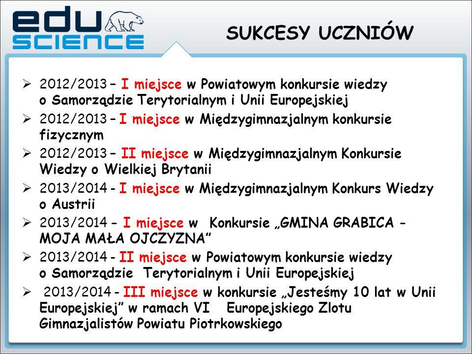 SUKCESY UCZNIÓW  2012/2013 – I miejsce w Powiatowym konkursie wiedzy o Samorządzie Terytorialnym i Unii Europejskiej  2012/2013 – I miejsce w Między