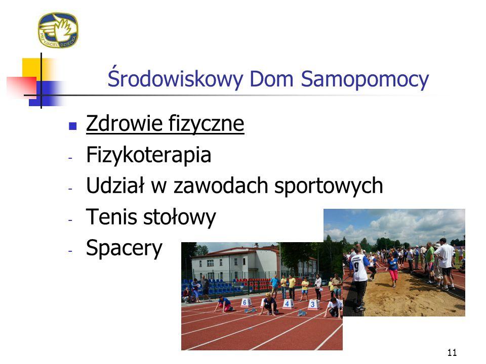 Środowiskowy Dom Samopomocy 11 Zdrowie fizyczne - Fizykoterapia - Udział w zawodach sportowych - Tenis stołowy - Spacery