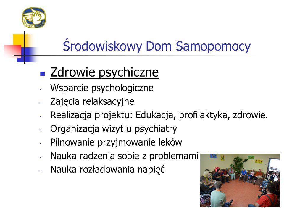 Środowiskowy Dom Samopomocy 12 Zdrowie psychiczne - Wsparcie psychologiczne - Zajęcia relaksacyjne - Realizacja projektu: Edukacja, profilaktyka, zdro
