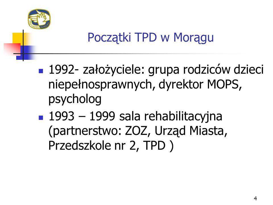 Początki TPD w Morągu 4 1992- założyciele: grupa rodziców dzieci niepełnosprawnych, dyrektor MOPS, psycholog 1993 – 1999 sala rehabilitacyjna (partner