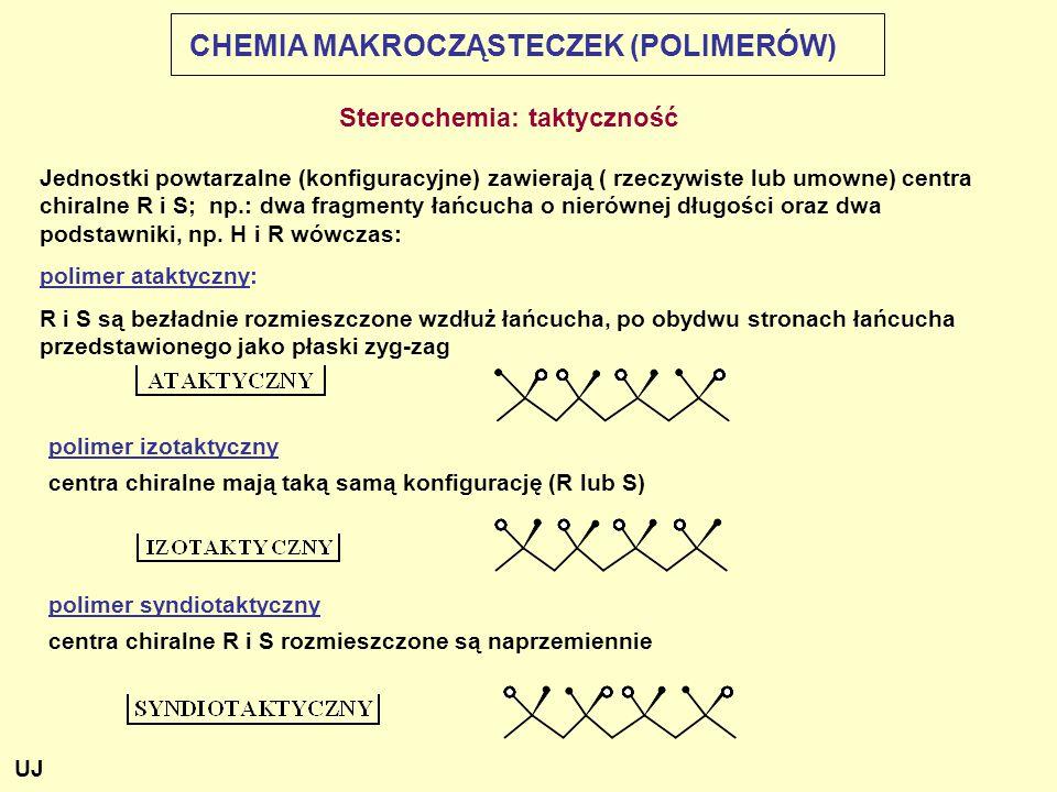 Stereochemia: taktyczność Jednostki powtarzalne (konfiguracyjne) zawierają ( rzeczywiste lub umowne) centra chiralne R i S; np.: dwa fragmenty łańcuch