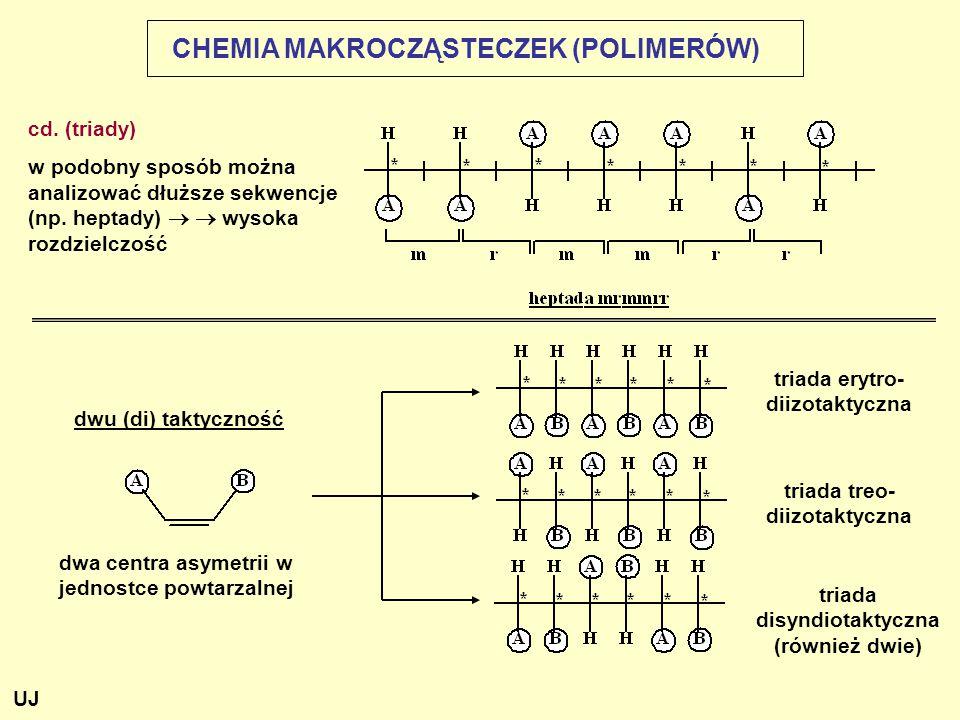 CHEMIA MAKROCZĄSTECZEK (POLIMERÓW) dwu (di) taktyczność dwa centra asymetrii w jednostce powtarzalnej triada erytro- diizotaktyczna triada disyndiotak