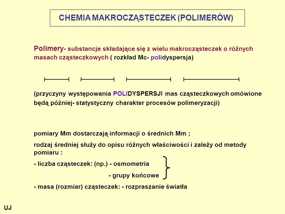 CHEMIA MAKROCZĄSTECZEK (POLIMERÓW) Polimery - substancje składające się z wielu makrocząsteczek o różnych masach cząsteczkowych ( rozkład Mc- polidysp
