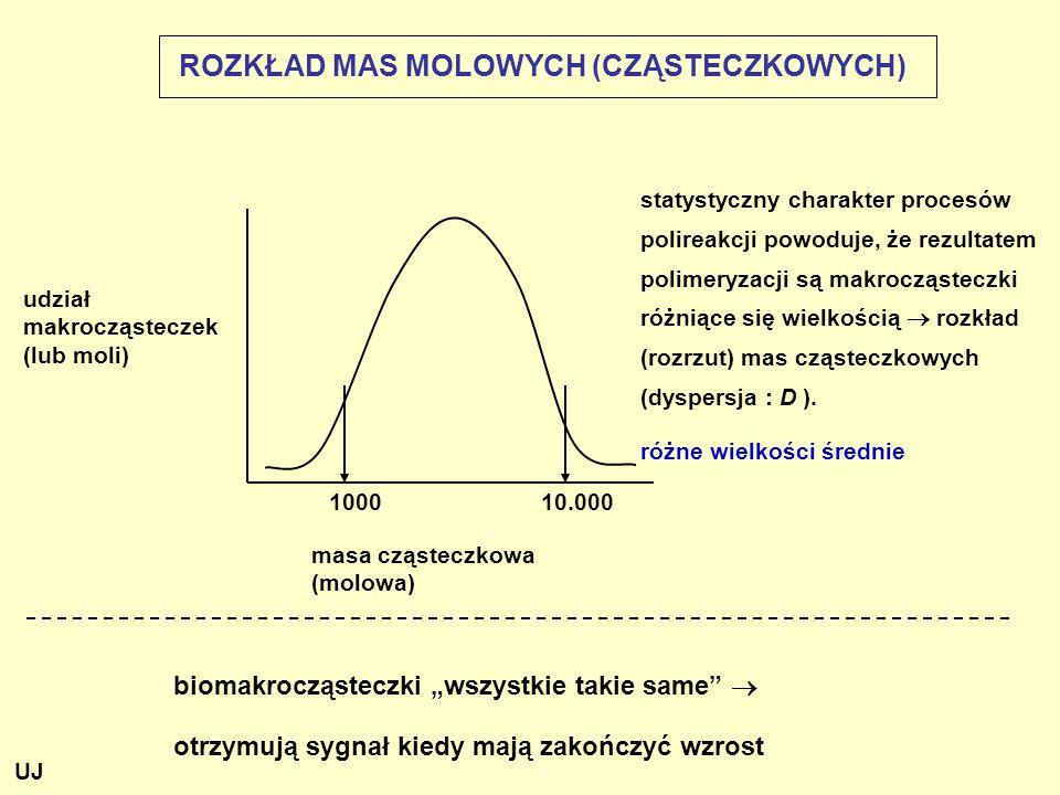 ROZKŁAD MAS MOLOWYCH (CZĄSTECZKOWYCH) udział makrocząsteczek (lub moli) statystyczny charakter procesów polireakcji powoduje, że rezultatem polimeryza