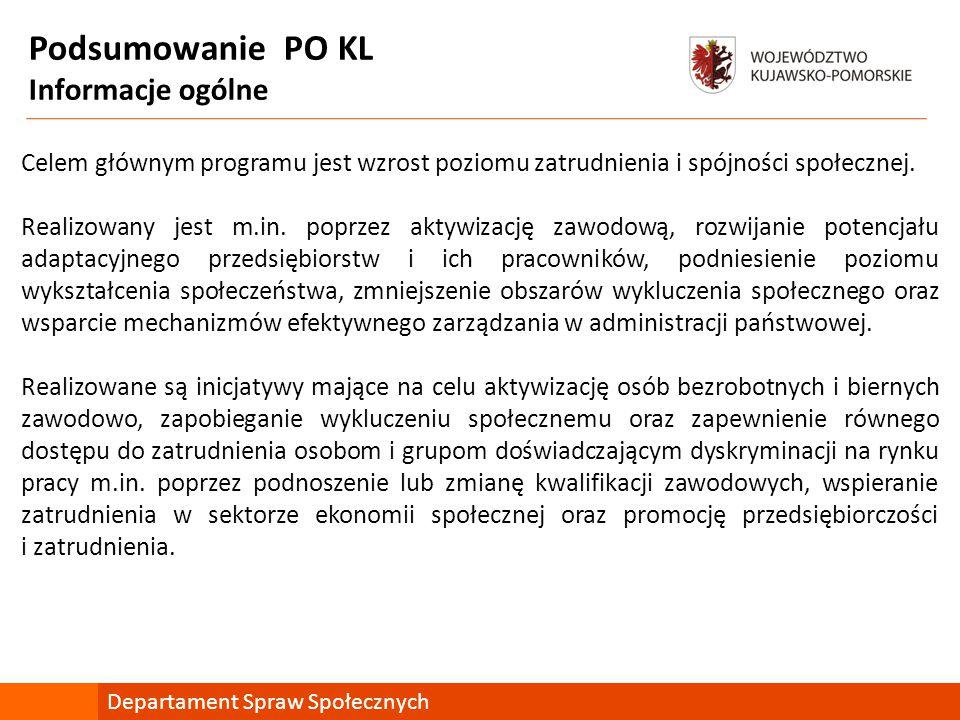 Podsumowanie PO KL Informacje ogólne Departament Spraw Społecznych Celem głównym programu jest wzrost poziomu zatrudnienia i spójności społecznej.
