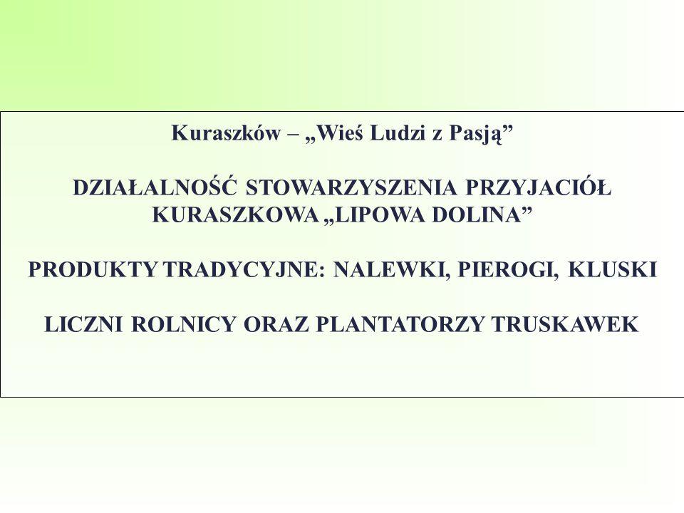 """Kuraszków – """"Wieś Ludzi z Pasją"""" DZIAŁALNOŚĆ STOWARZYSZENIA PRZYJACIÓŁ KURASZKOWA """"LIPOWA DOLINA"""" PRODUKTY TRADYCYJNE: NALEWKI, PIEROGI, KLUSKI LICZNI"""