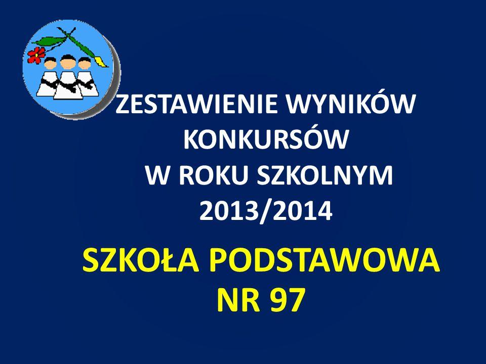 ZESTAWIENIE WYNIKÓW KONKURSÓW W ROKU SZKOLNYM 2013/2014 SZKOŁA PODSTAWOWA NR 97