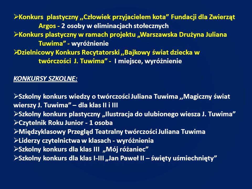 KLASY IV - VI KONKURSY OGÓLNOPOLSKIE: polonistyczne, matematyczne, historyczne, przyrodnicze, językowe, wiedzy ogólnej, plastyczne
