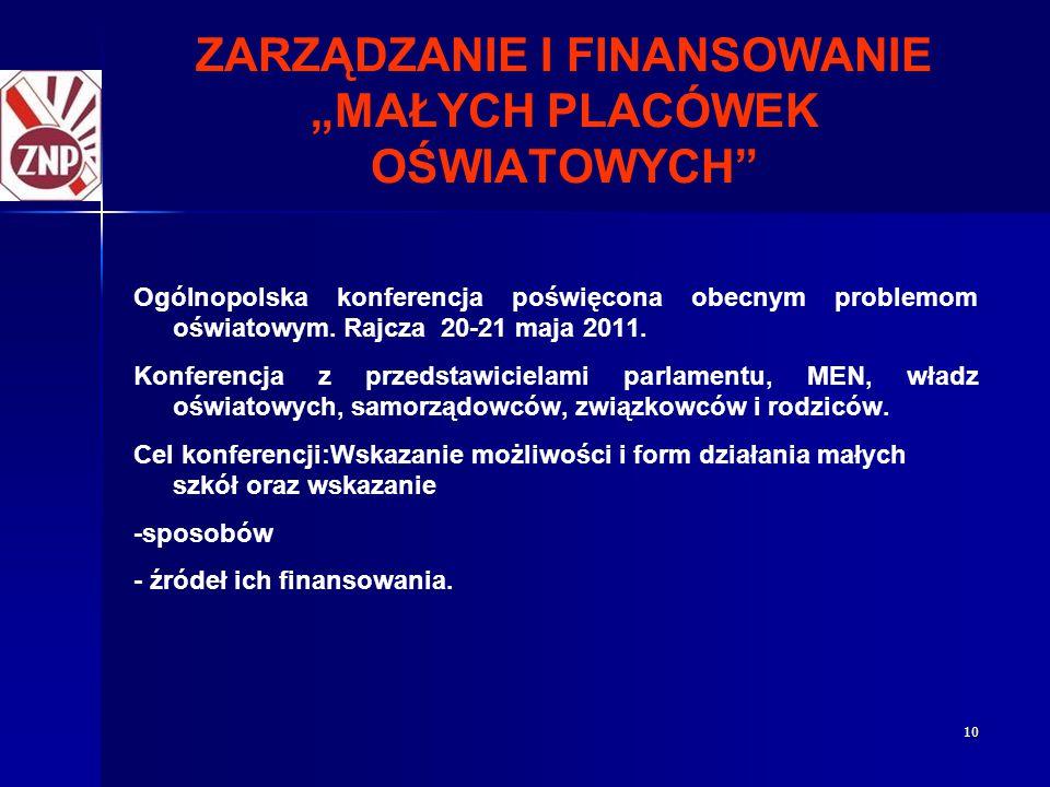 """10 ZARZĄDZANIE I FINANSOWANIE """"MAŁYCH PLACÓWEK OŚWIATOWYCH"""" Ogólnopolska konferencja poświęcona obecnym problemom oświatowym. Rajcza 20-21 maja 2011."""