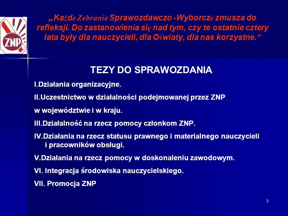 """2 """" Ka ż d e Zebranie Sprawozdawczo - Wyborcz e zmusza do refleksji."""