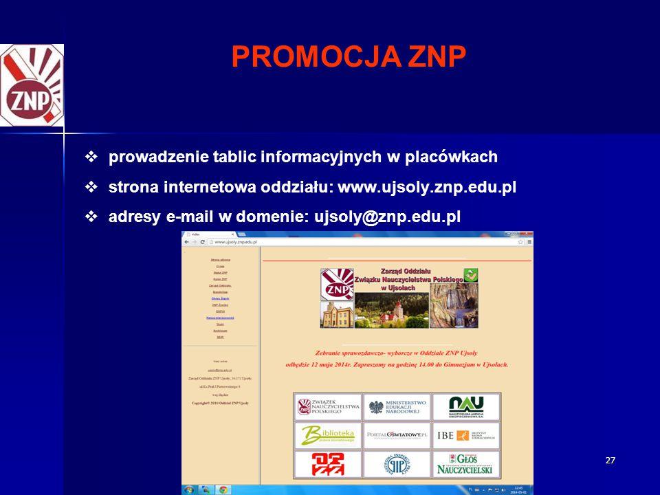 27 PROMOCJA ZNP   prowadzenie tablic informacyjnych w placówkach   strona internetowa oddziału: www.ujsoly.znp.edu.pl   adresy e-mail w domenie: ujsoly@znp.edu.pl
