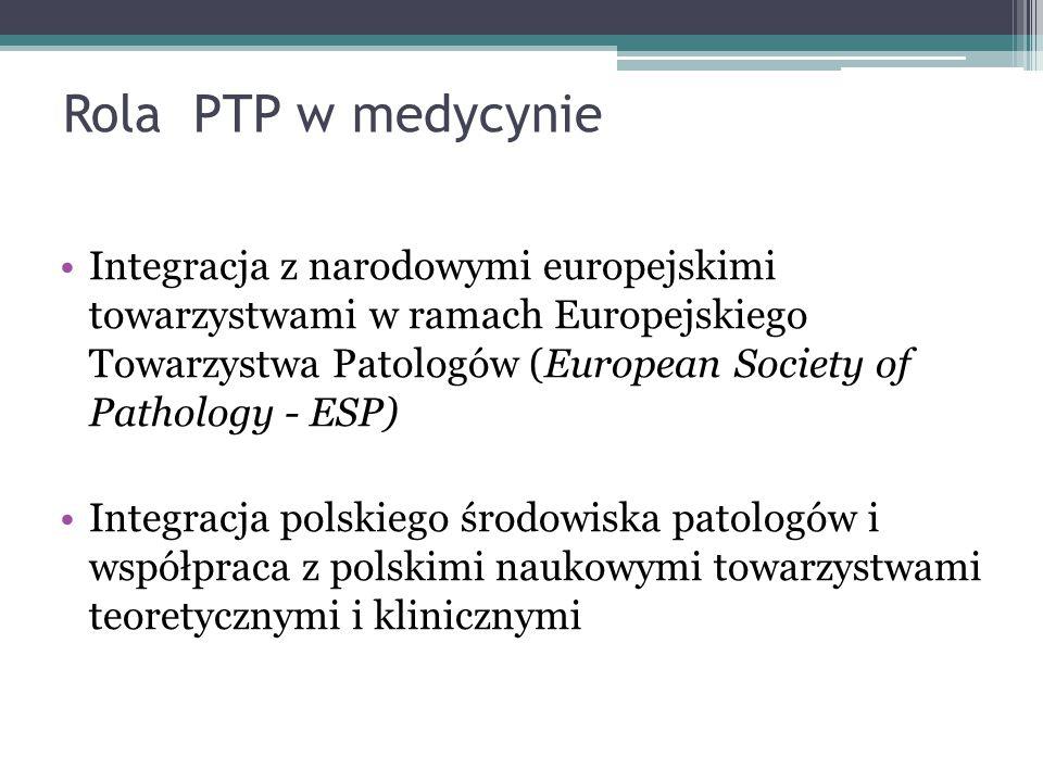 Rola PTP w medycynie Integracja z narodowymi europejskimi towarzystwami w ramach Europejskiego Towarzystwa Patologów (European Society of Pathology -