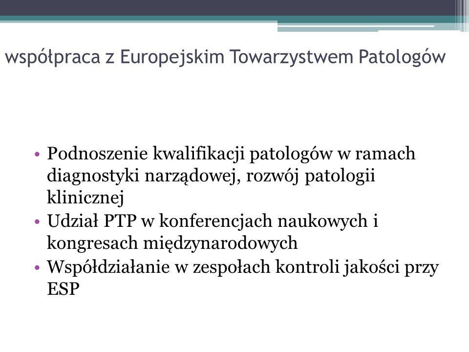 współpraca z Europejskim Towarzystwem Patologów Podnoszenie kwalifikacji patologów w ramach diagnostyki narządowej, rozwój patologii klinicznej Udział
